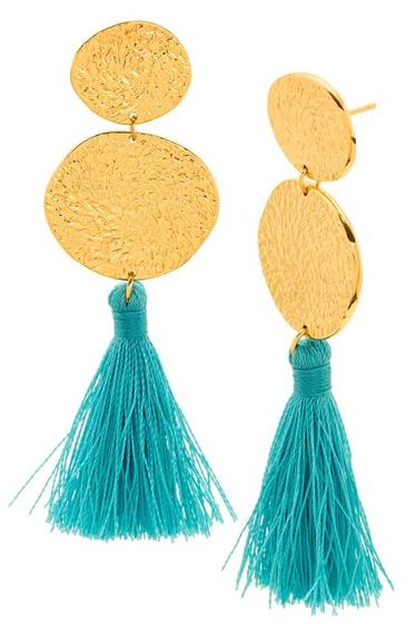 Turquoise Tassle Earrings / Denim