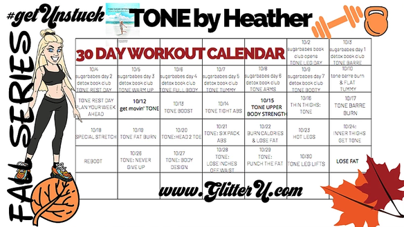 """LAST CHANCE TO JOIN US ONLINE: THE FALL """"TONE UP"""" WORKOUT CHALLENGE : LAST ONE OF THE YEAR!"""