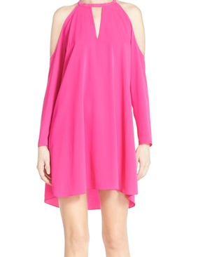 Cold Shoulder Dress / Hot Pink