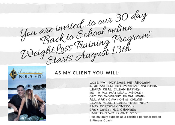 Back to School Online Weight Loss Training Program | Nola Fit