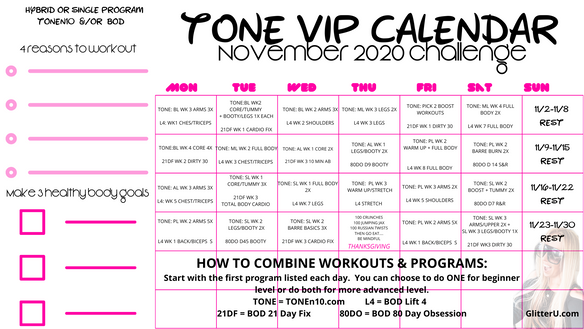 NOVEMBER WORKOUT SCHEDULE IS HERE!