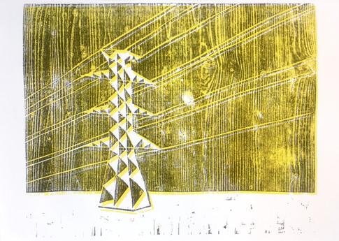 Holzdruck auf Papier