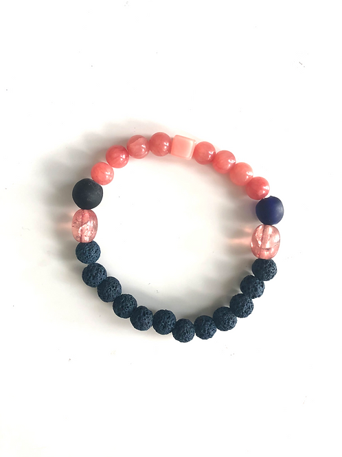 Navy and coral lava bead bracelet