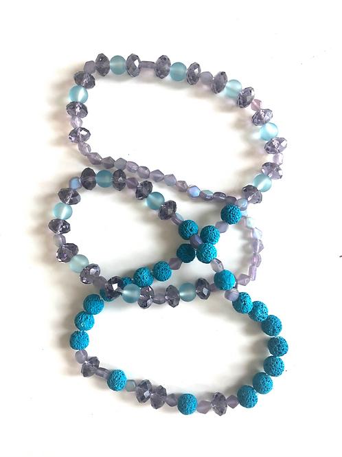 Turquoise/purple lava bead Necklace