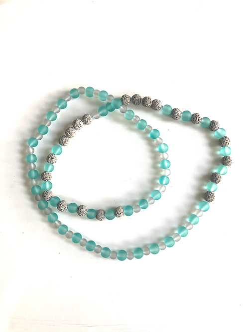 Turquoise/Grey lava bead Necklace