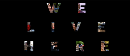 We Live Here by Alfrobel Inc. logo