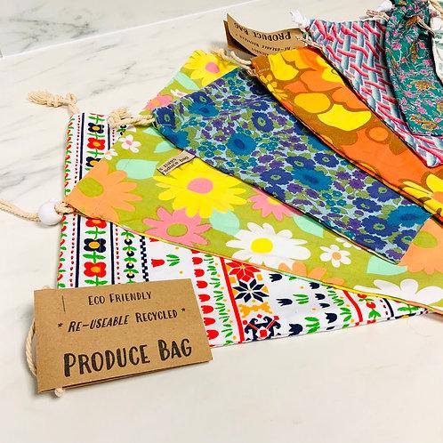 Recycled fabric drawstring produce bag