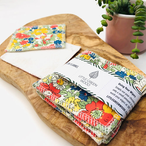 Soft & Smooth Make-Up Wipes - Liberty Cotton & Organic Cotton Fleece (5/10pack)
