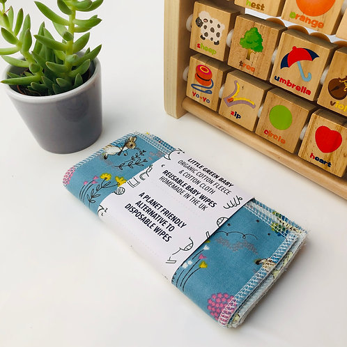 (WS) Reusable Baby Wipes - Cotton Flannel & Organic Cotton Fleece (5/10pack)