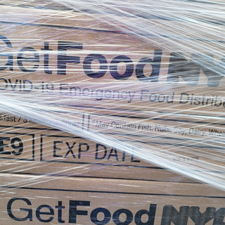 pallet of Get Food NYC boxes
