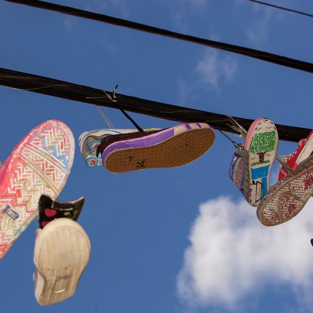 Kicks in the Sky - sneaker art at Walton Avenue