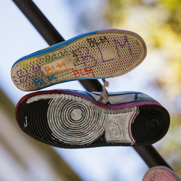 Kicks in the Sky - sneaker art at West Farms