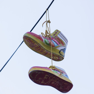 Kicks in the Sky - sneaker art at Morris Avenue