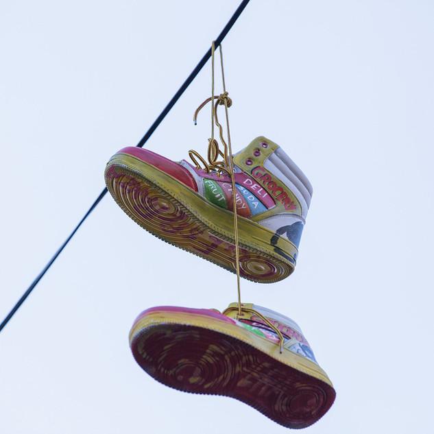 Kicks in the Sky - sneaker art at Morris Avenue