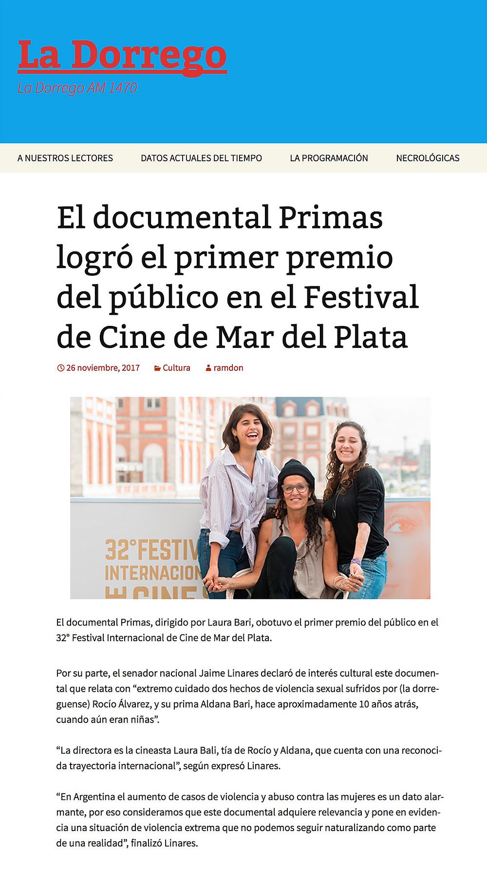 http://ladorrego.com.ar/2017/11/26/el-documental-primas-logro-el-primer-premio-del-publico-en-el-festival-de-cine-de-mar-del-plata/