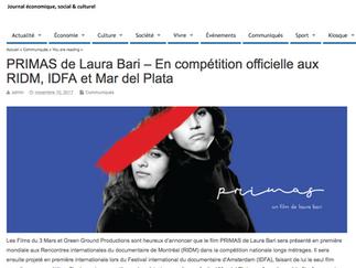 PRIMAS de Laura Bari – En compétition officielle aux RIDM, IDFA et Mar del Plata