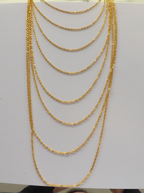 Gold plated 8 strand 8 length chain necklace