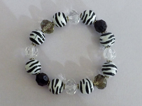 Zebra, grey, white & black bead stretch bracelet