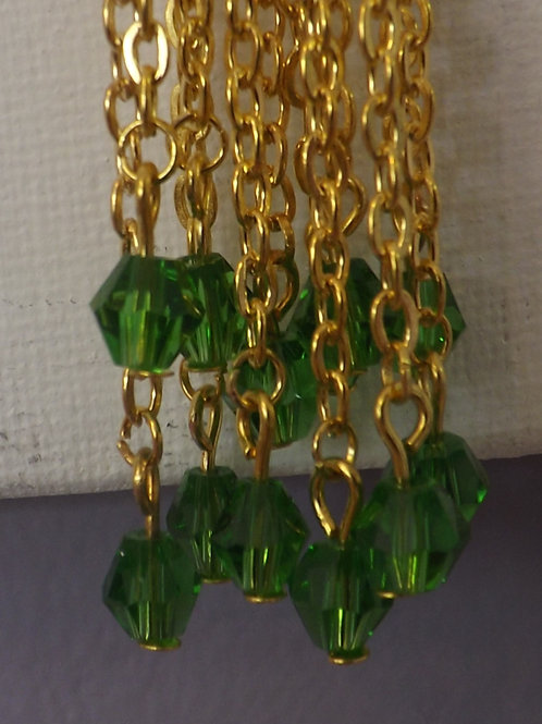 Gold knot necklace with green crystal bicone beads