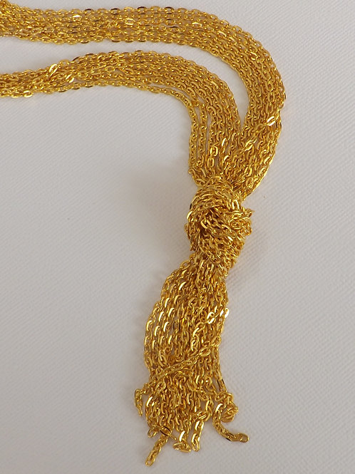 Gold cable chain knot necklace