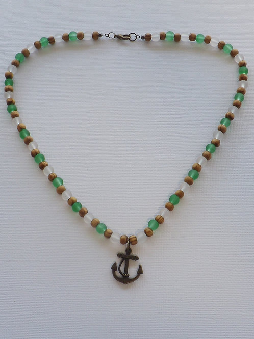 Wood, green & white bead necklce w/anchor