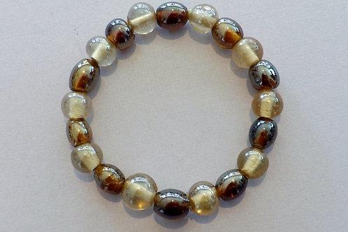 Brown & beige glass bead stretch bracelet