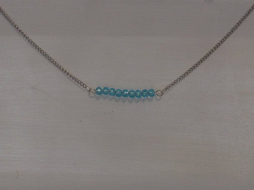 Shorter style chain necklace w/9 jade style beads