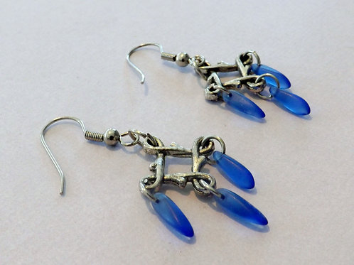 Silver hook earring with Celtic square & blue bead