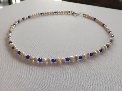 Freshwater pearl & blue crystal bicone necklace