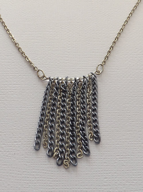 Chain necklace with blue & silver chain bib