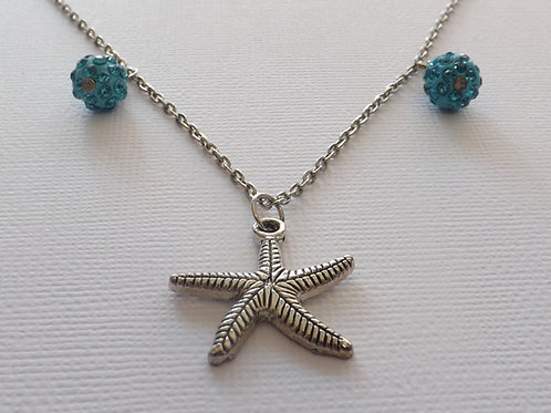 Chain necklace with 2 disco ball bead & starfish
