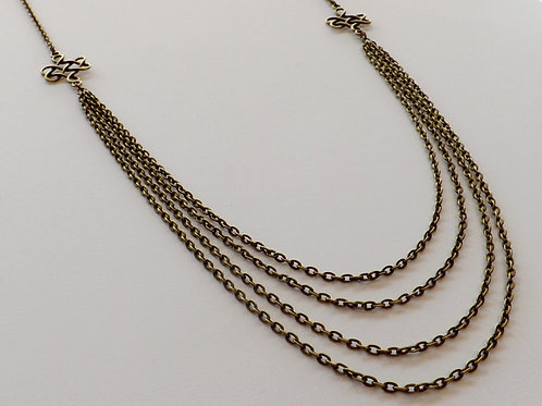 Antique bronze chain necklace w/filigree connector