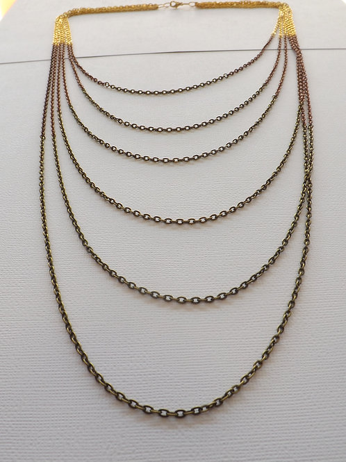 Three color chain 6 strand, 6 length necklace