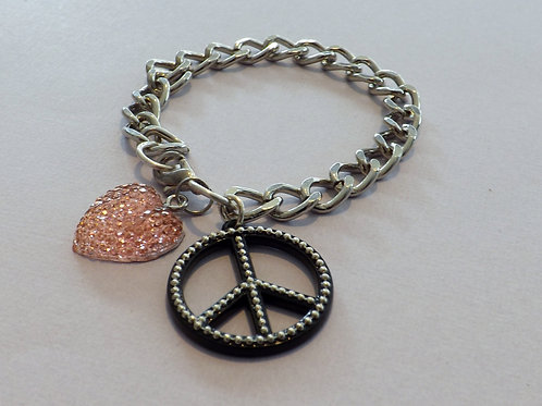 Large curb chain bracelet with peace sign & heart