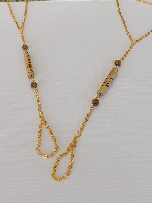 Wood tube bead with gold barefoot sandals