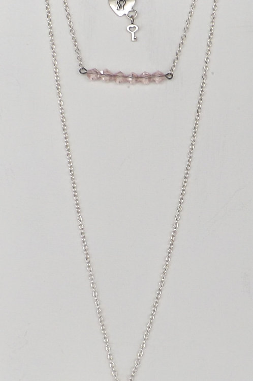 3 Strand, 3 length chain necklace w/ 2 charms