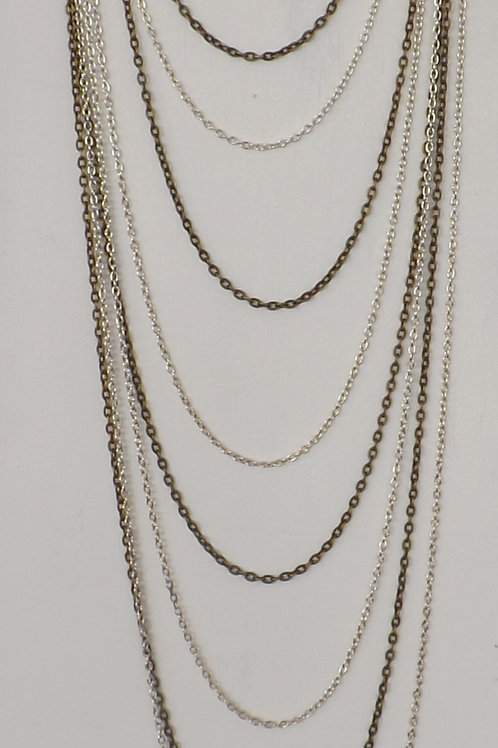 Two color 8 strand, 8 length chain necklace