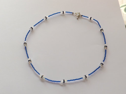 Blue beaded necklace with clear crystal bicone