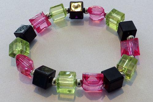 Black, pink & green acrylic bead stretch bracelet