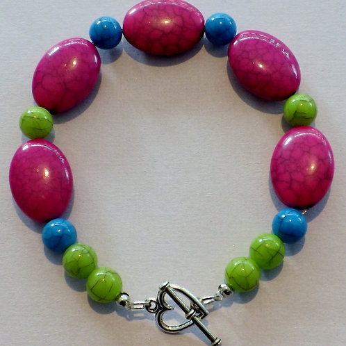 Brightly colored bead bracelet