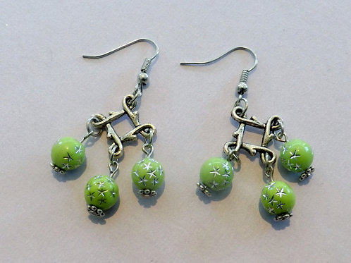 Silver hook earring with celtic square & 3 beads