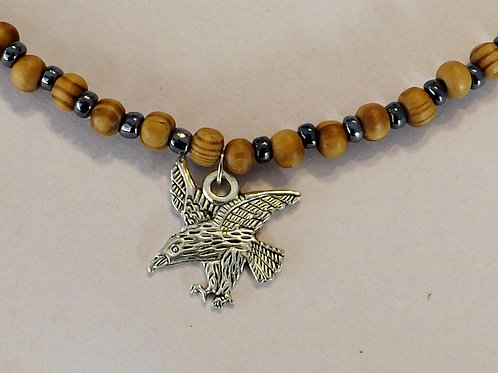 Bead necklace men's w/wood & black beads-Eagle