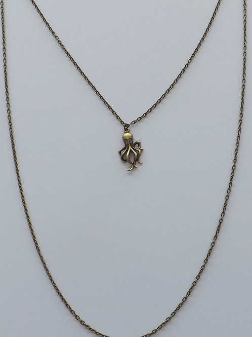 Two strand antique bronze necklace w/octopus