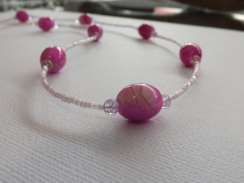 Pink beaded necklace with fuschia large beads
