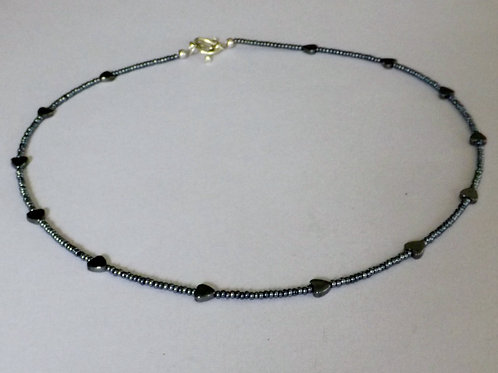 Hematite seed bead necklace with hem hearts