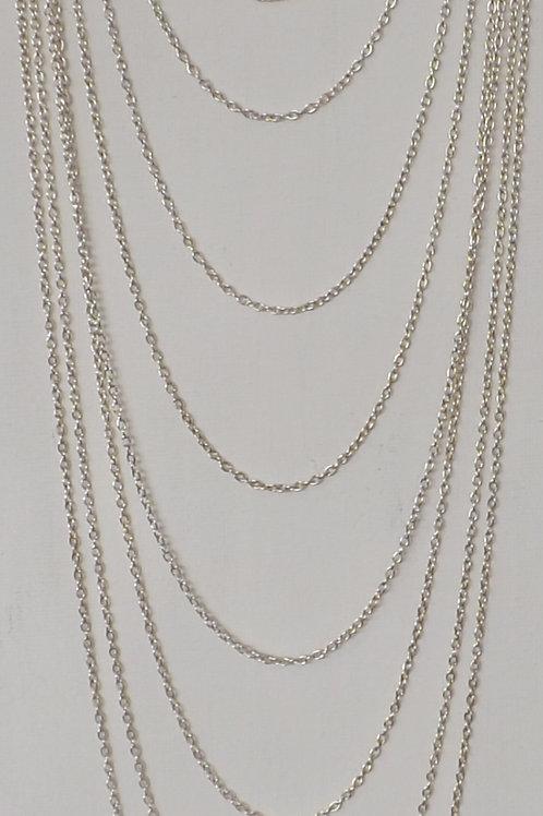 Multi strand silver chain necklace
