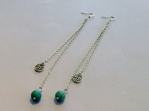 Silver hook earring with 2 chain strand w/bead