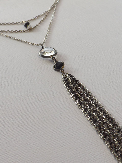 3 Strand chain necklace with chain tassel