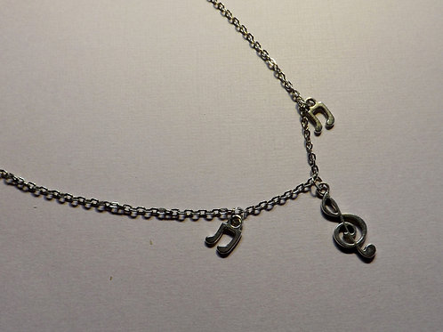 Chain necklace with 3 silver charm