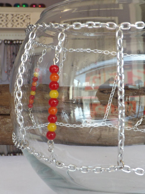 Round clear glass bowl with chain & beads